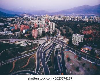 Cityscape of Santiago de Chile. Aerial shot of Santiago