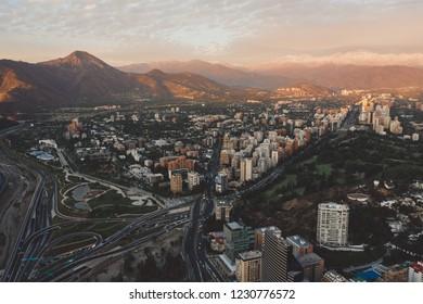 Cityscape of Santiago de Chile at dawn