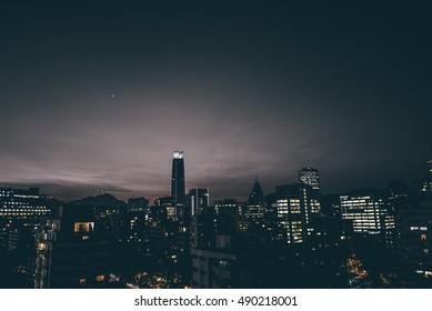 Cityscape of Santiago de Chile at dawn. Blue hour at Santiago de Chile. Skyline of Santiago at night