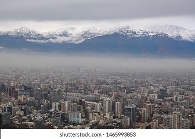 Cityscape of Santiago and mountains