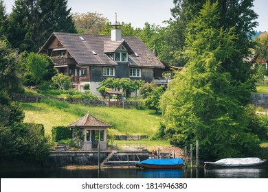 Cityscape Scenery and Swiss Village Culture at Stein Am Rhein City, Switzerland. Beautiful Nature Waterfront View of Rhine River With Swiss Architecture House Building at Summer. Travel Destination