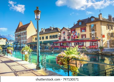 Cityscape with scenic old buildings in Annecy. French Alps, France