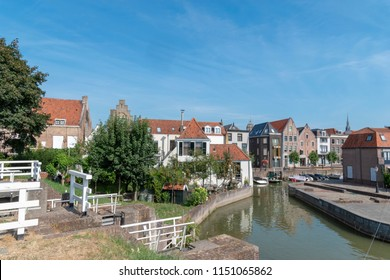 Cityscape of Schoonhoven, the Netherlands, seen from the medieval defensive wall.
