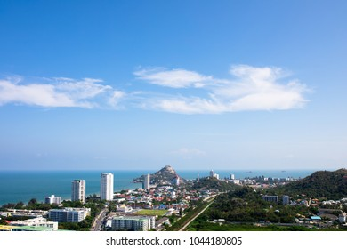 Cityscape and sea view from high view at Huahin Thailand with blue sky background
