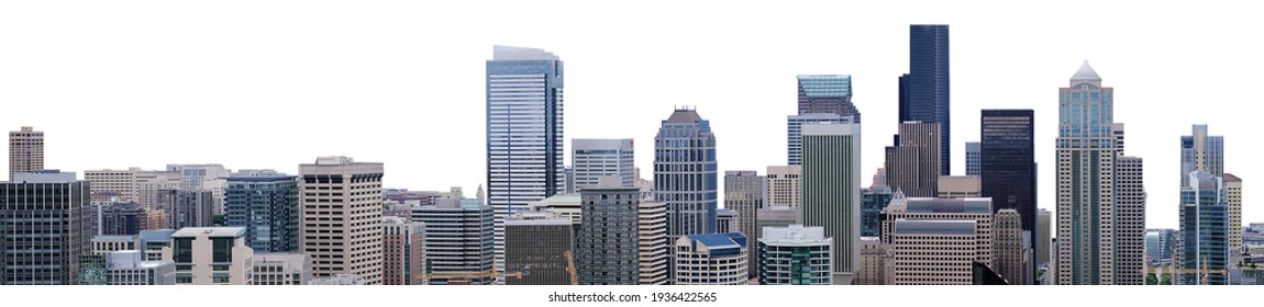 Cityscape of Seattle (Washington, USA) isolated on white background - Shutterstock ID 1936422565