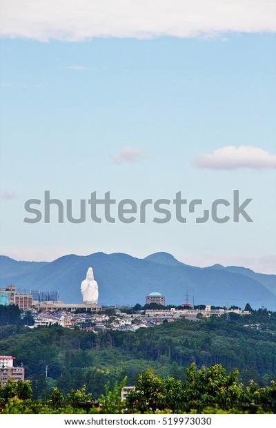 Cityscape of Sendai with Sendai Daikannon in distance, viewed from Mount Aoba, Sendai, Miyagi Prefecture, Tohoku region, Japan