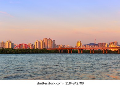 Cityscape of Seoul, South Korea And  Viewpoint of Hangang River and Namsan  Seoul tower
