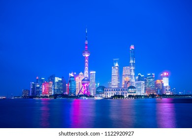 Cityscape of Shanghai, China, at twilight in 2018