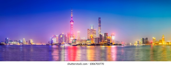 Cityscape of Shanghai at night. Panoramic view of Pudong's skyline from the Bund. Located in The Bund (Waitan). One of the most famous tourist destinations in Shanghai.