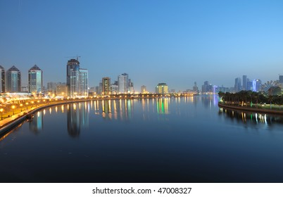 Cityscape of Sharjah City at night. United Arab Emirates