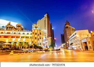 Cityscape of Shenyang. Located in Zhongshan Square, Shenyang downtown, Liaoning, China.