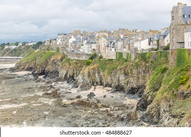 Cityscape at the shore of Granville, Normandie, France, at low tide