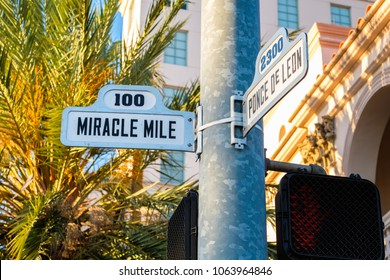 Cityscape sign view of the popular Miracle Mile in downtown Coral Gables, Florida.