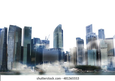 Cityscape of singapore city , Isolated on white background, double exposure