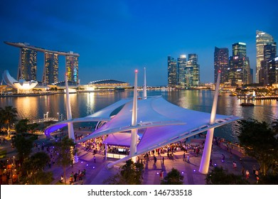 Cityscape of Singapore night in twilight time : Marina Bay view from Esplanade