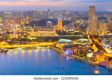 Cityscape of Singapore at twilight, aerial view