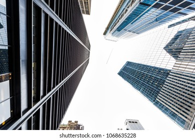 Cityscape skyline architecture of lower financial district downtown manhattan glass window modern buildings looking up sky nobody, isolated, construction