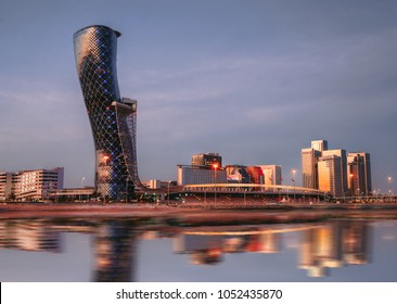 A Cityscape & skyline of capital gate district Abu dhabi, UAE