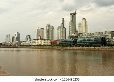 Cityscape of skyline and downtown of Buenos Aires buildings and river
