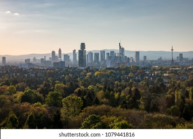 Cityscape with skyline of Frankfurt am Main seen from top of Goethetower which burned down completely after a fire in 2017