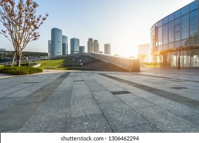 cityscape and skyline of hangzhou in blue sky from empty floor