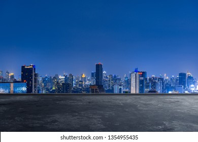 cityscape skyline night scene with empty floor on front