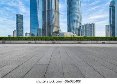 cityscape and skyline of shanghai in blue sky from empty floor