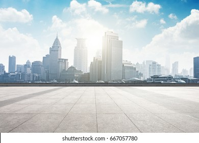 cityscape and skyline of shanghai from empty marble floor