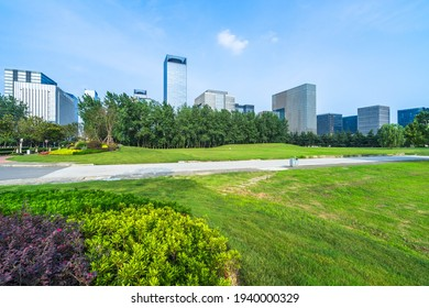 cityscape and skyline of shanghai from meadow in park