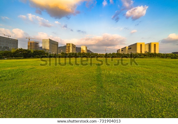 cityscape and skyline of suzhou from meadow in park
