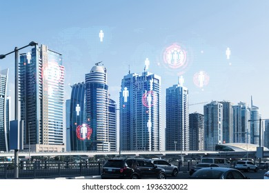 Cityscape skyscrapers of downtown, UAE. Modern skyline of the capital of the Emirate of Dubai. Social network concept. Double exposure. People icons net.