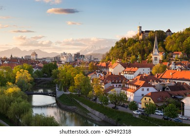 Cityscape of the Slovenian capital Ljubljana at sunset.