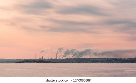 cityscape smokestack pipe factory, pollution in the city
