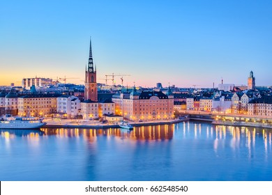Cityscape of Stockholm city at night in Sweden.