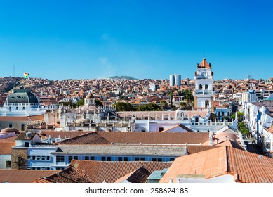 Cityscape of Sucre, Bolivia with the tower of the cathedral visible