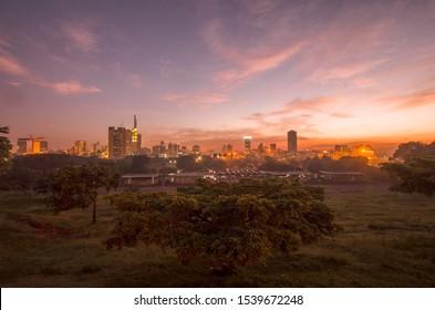 Cityscape of sunrise over Nairobi city