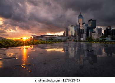 Cityscape sunrise reflection with abstract sky