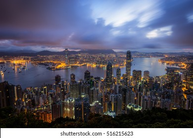 Cityscape sunrise from top of mountain