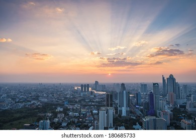 Cityscape sunset in Bangkok