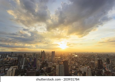 Cityscape sunset in Bangkok, Thailand
