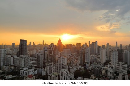 Cityscape sunset at evening time
