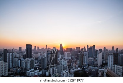 Cityscape and sunset at evening time