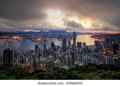 Cityscape sunset night sky, Hongkong