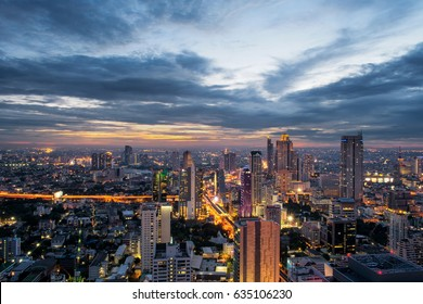 Cityscape sunset  twilight in the center of business in Bangkok, Thailand