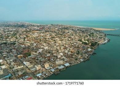Cityscape sunset view of Cotonou, Benin Republic