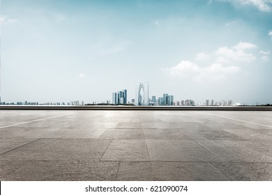 cityscape of suzhou from empty brick floor