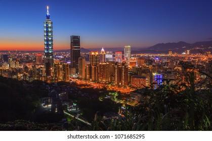 Cityscape of Taipei skyline during sunset twilight, Taiwan