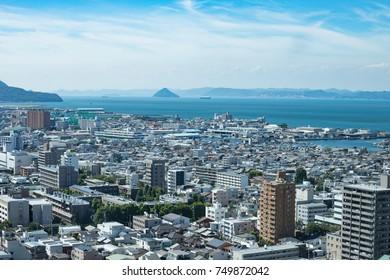 Cityscape of Takamatsu city,Shikoku,Japan