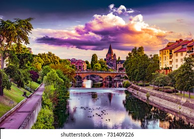 Cityscape with Temple Neuf in Metz, Lorraine, France