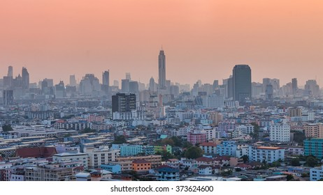 cityscape of  Thailand at sunset